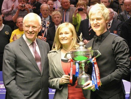 Barry Hearn Neil Robertson Mom World Snooker Championship 2011 Trophy